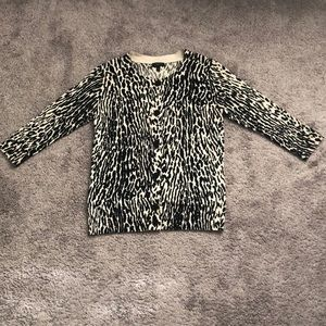 Talbots animal print cardigan sweater